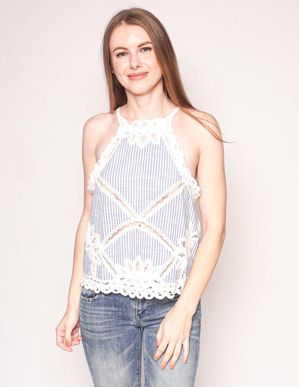 FREE PEOPLE Lace Trim Cotton Striped Top - Fashion Without Trashin