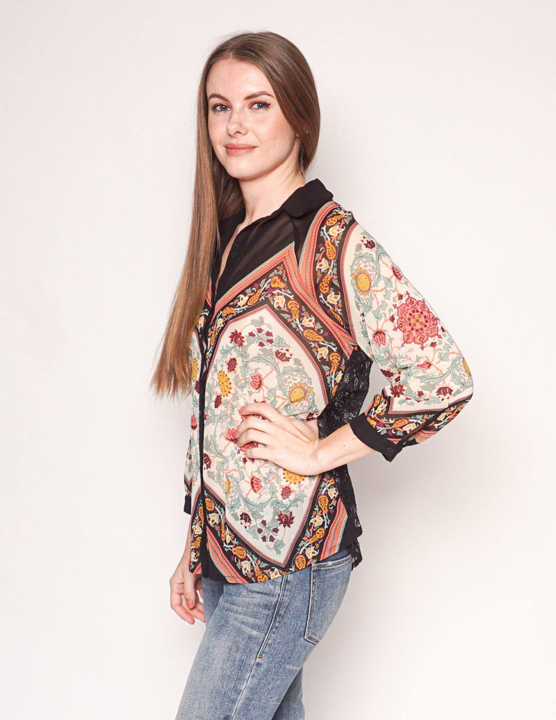 FARM Rio Floral Print Lace Back Button-Down Blouse - Fashion Without Trashin