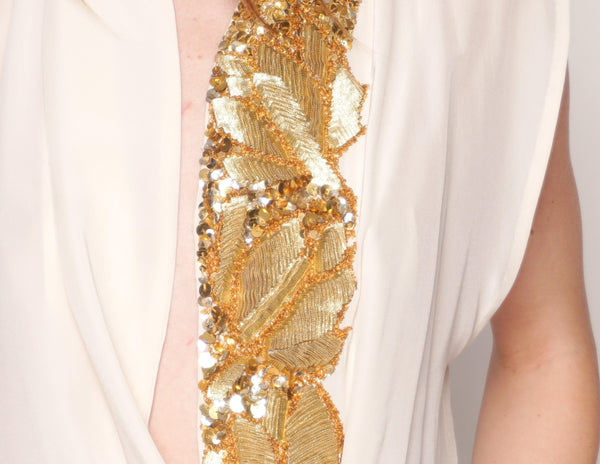 DRIES VAN NOTEN Ivory Silk Blouse with Gold Sequin Embellishment - Fashion Without Trashin