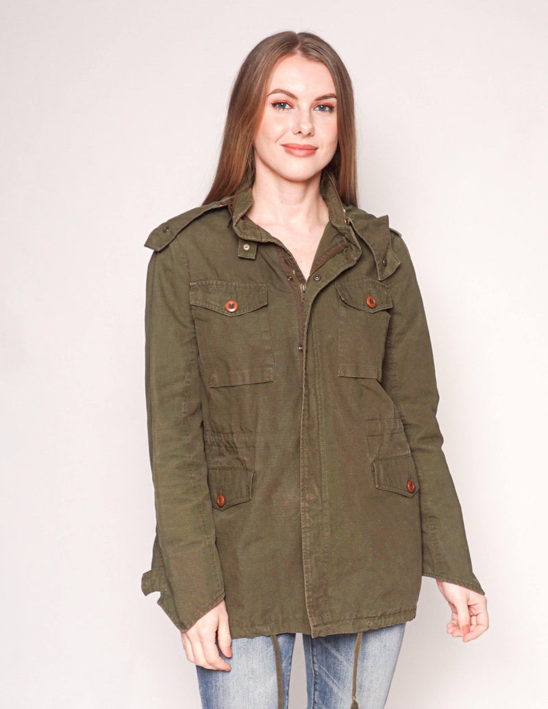 COMPTOIR DES COTONNIERS Cotton Olive Green Utility Jacket - Fashion Without Trashin