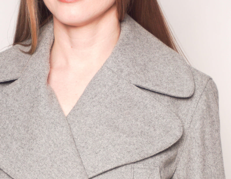 BURBERRY BRIT Gray Wool Double-Breasted Coat - Fashion Without Trashin