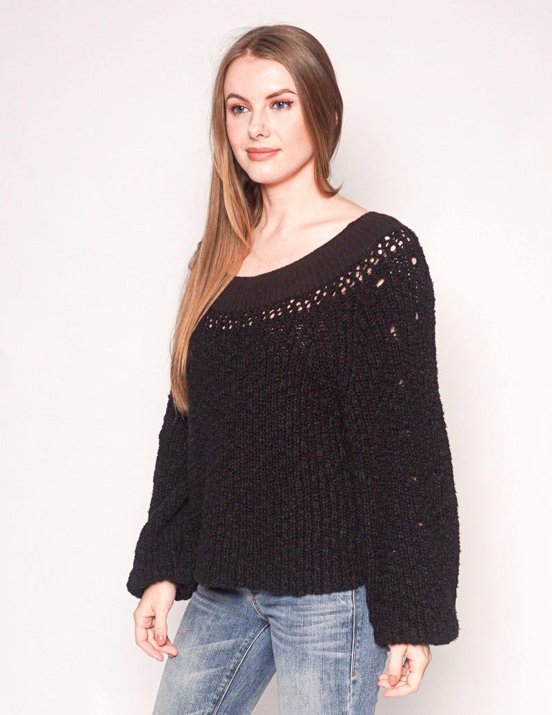 FREE PEOPLE Black Cotton Knit Oversized Sweater - Fashion Without Trashin