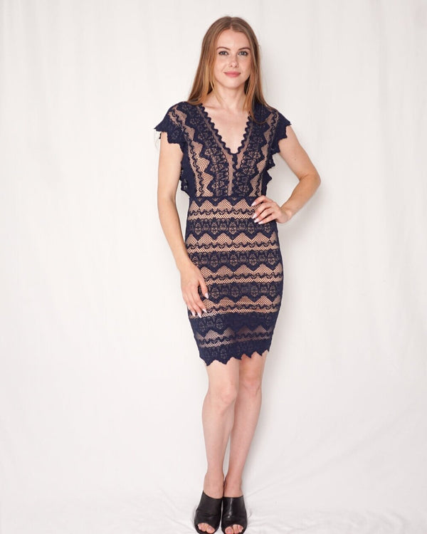 Nightcap by Carisa Rene Stretch Spanish Lace Dress (Size 2)