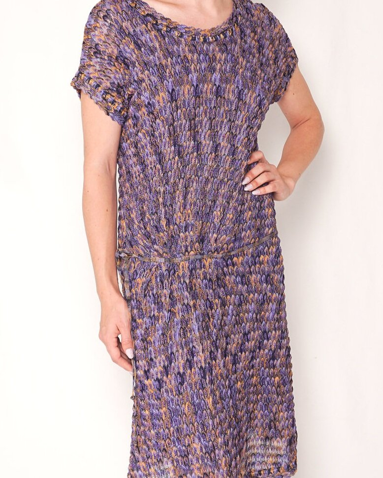 MISSONI Purple Yellow Crochet-Knit Midi Dress (Size 8)
