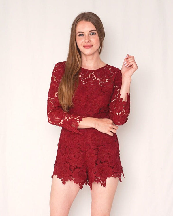 Lovers + Friends Peony Lace Long-Sleeve Romper (Size S)