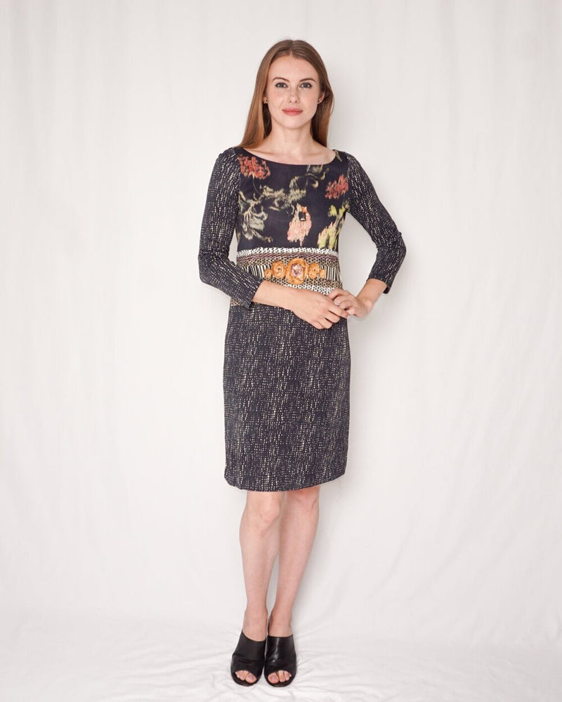 Maliparmi Printed Sheath Dress (Size 40)