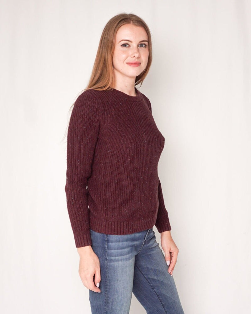 Rag And Bone Cotton Knit Maroon Crew Sweater (Size XXS )