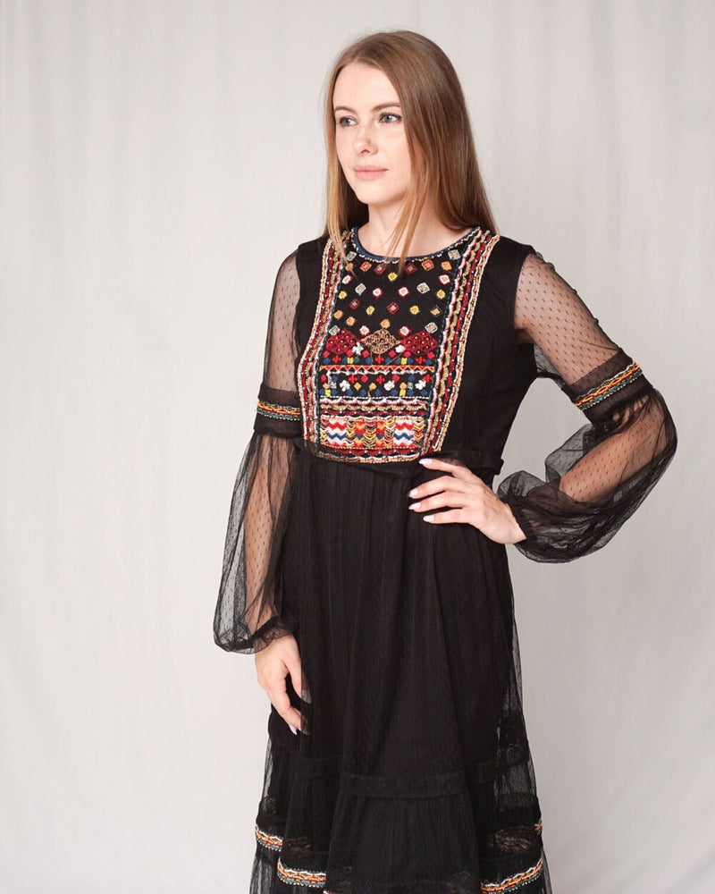 Zara Beaded Embroidered Mesh Black Midi Dress (Size M)