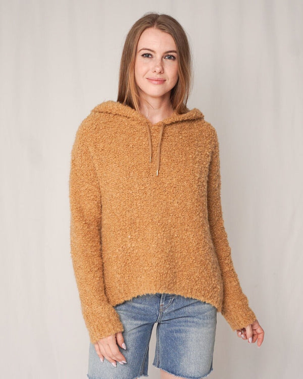 Sandro Paris Tan Knit Hooded Sweater (Size S )