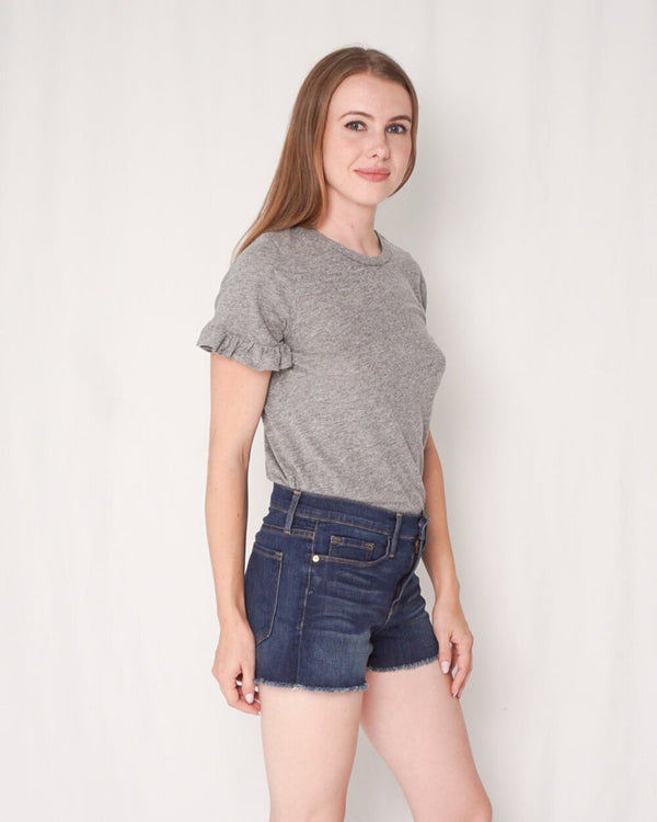 Sundry Heather Gray True Love Mini Ruffle Tee (Size 0)