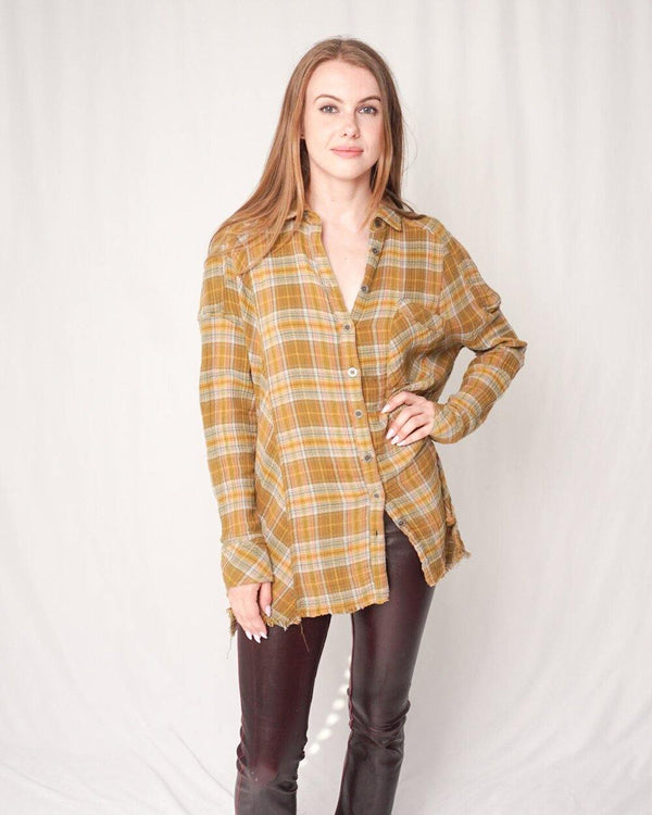 Free People Green Plaid Tunic Shirt (Size M) - Fashion Without Trashin