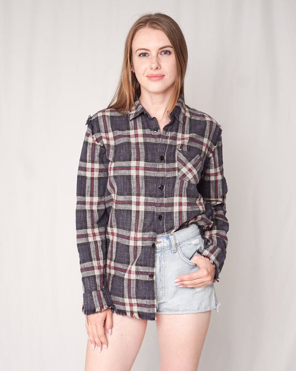 R13 Frayed Seam Plaid Shirt (Size S)