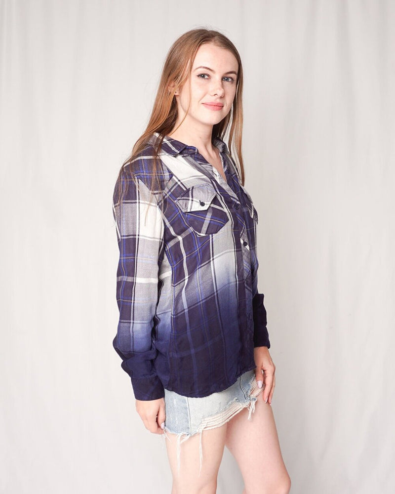 "Rails ""Kendra"" Blue Ombre Plaid Shirt (Size M)"