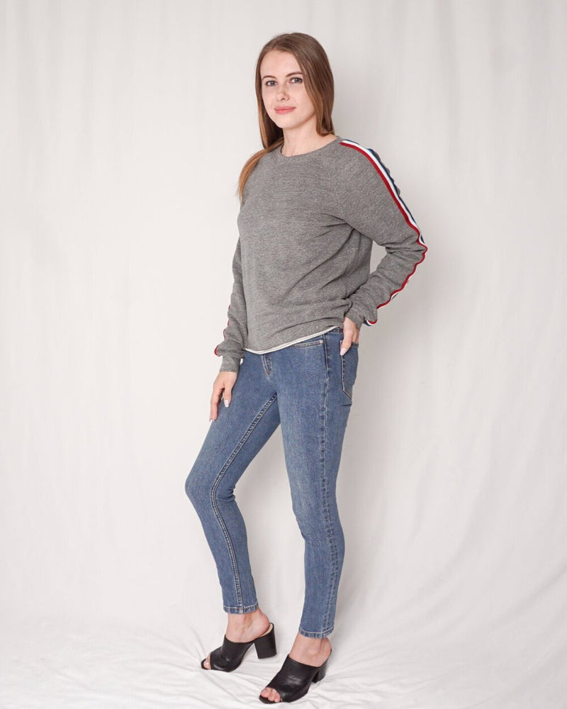 Sol Angeles Gray Sweatshirt with Side Stripes (Size S)