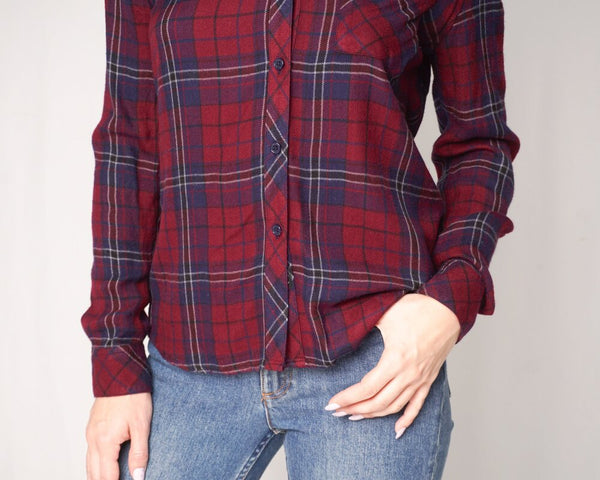 "Rails ""Hunter"" Oxblood Navy Plaid Shirt (Size S)"