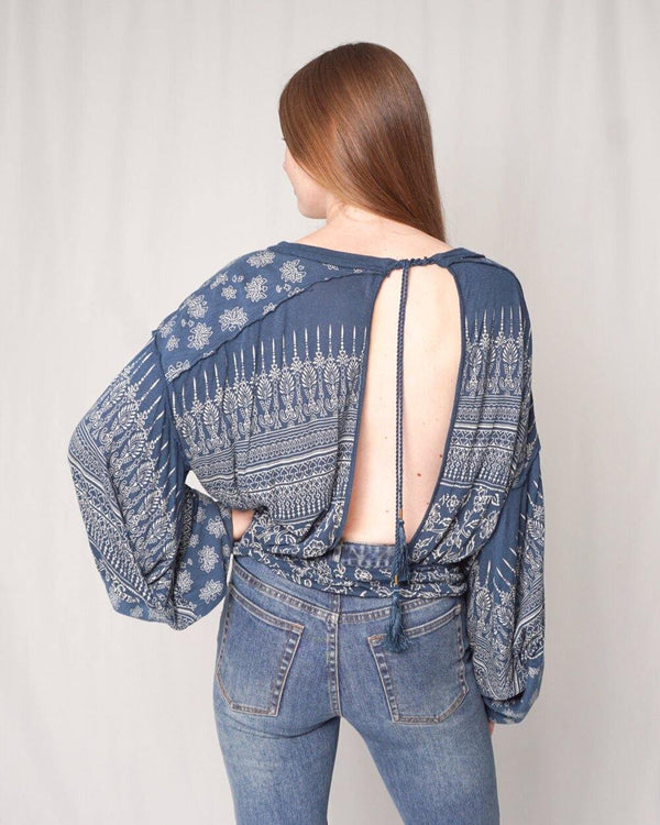 Free People Open Back Floral Print Blouse (Size S) - Fashion Without Trashin