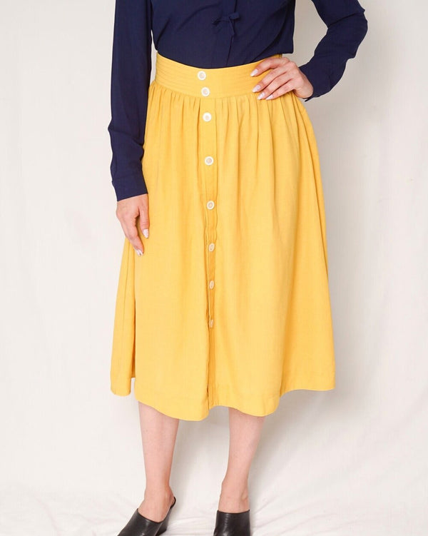 Miu Miu Yellow Button Down Midi Skirt (Size L)