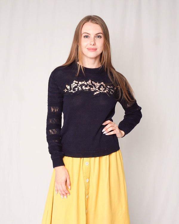 Thakoon Knit Dark Navy Floral Lace Sweater (Size M)
