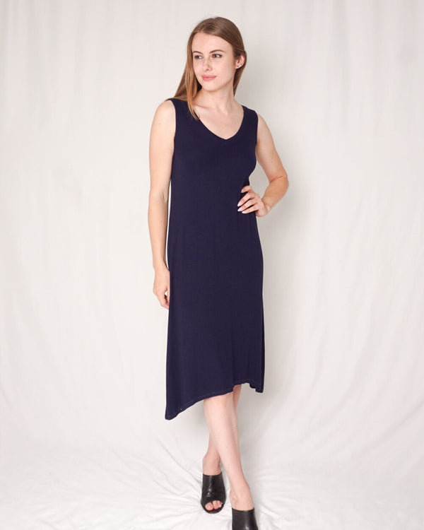 Michael Stars Navy Blue Ribbed V-neck Midi Dress (Size XS)