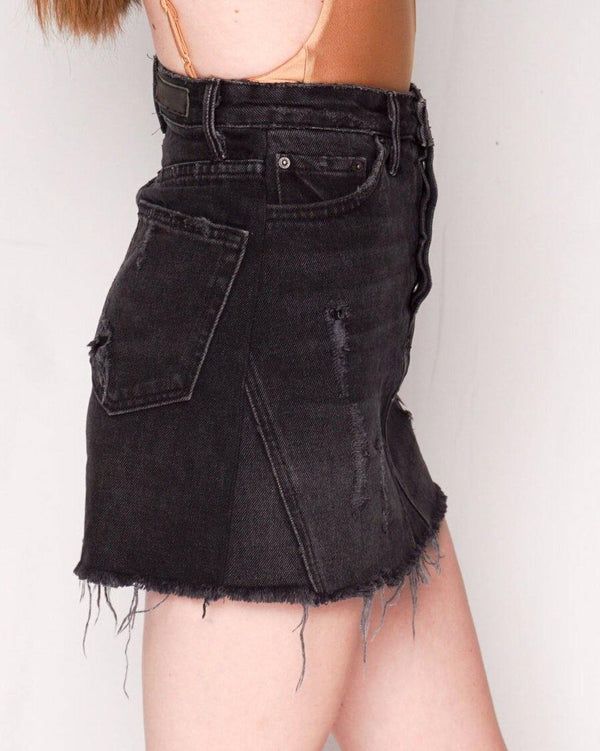 GRLFRND Black Eva Denim A-Frame Gusset Skirt (Size 25) - Fashion Without Trashin