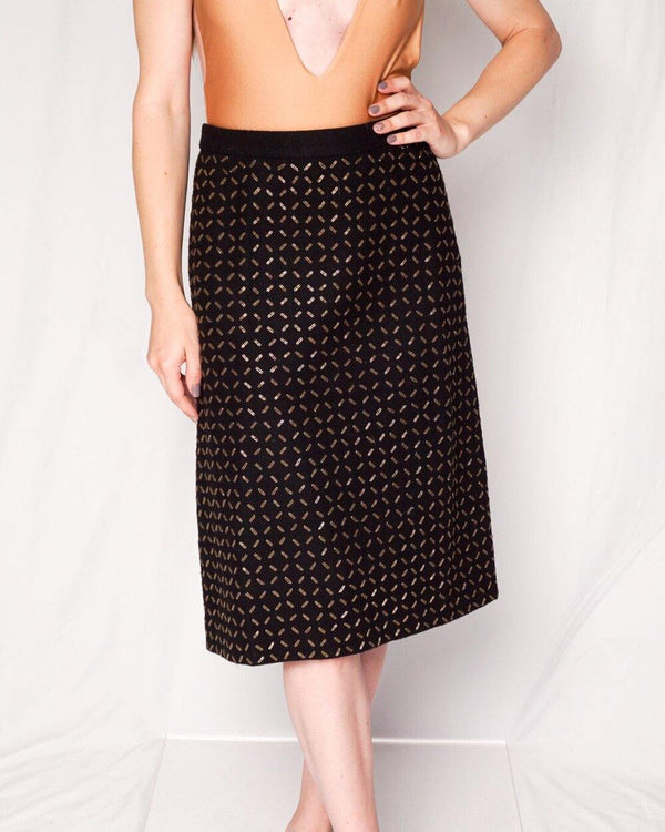 Andrew GN Black Wool Embellished A-line Skirt (Size S) - Fashion Without Trashin
