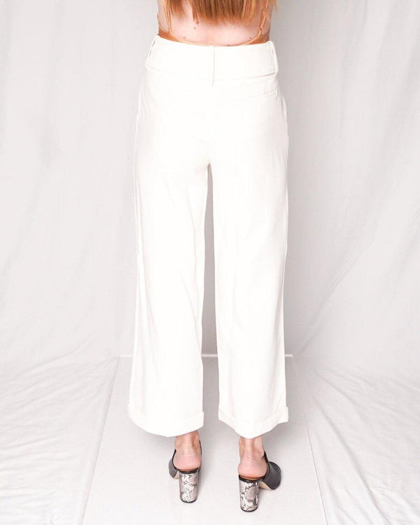 Derek Lam White Belted Wide Cuffed Trouser Pant - Fashion Without Trashin