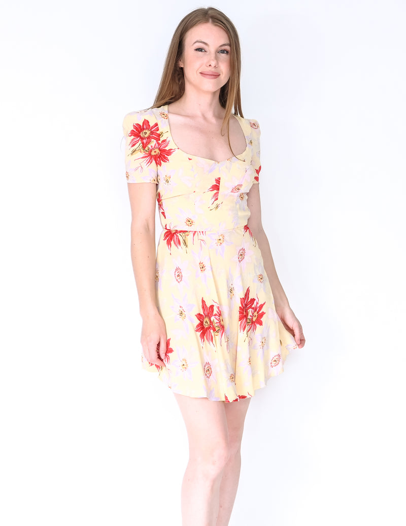 REFORMATION Cutout Back Yellow Floral Mini Dress (Size XS)