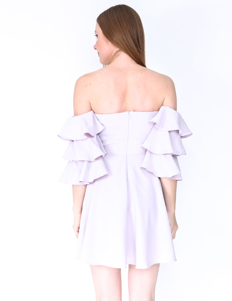 AMANDA UPRICHARD Off-Shoulder Ruffle Sleeve Lilac Dress (Size S)