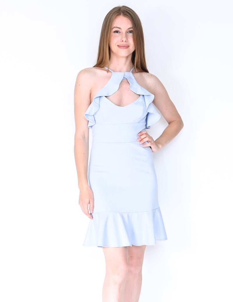 AMANDA UPRICHARD Blue Ponte Ruffle Cutout Dress (Size S)