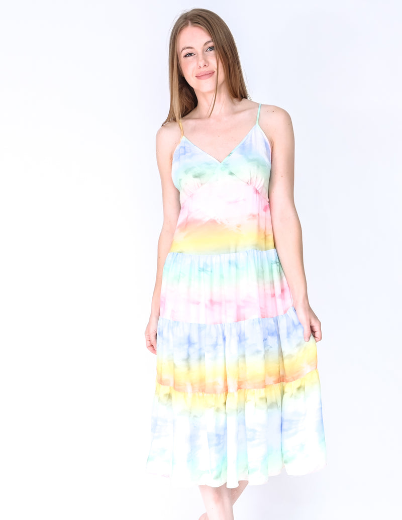 AMANDA UPRICHARD Rainbow Nicola Tiered Midi Dress (Size S)
