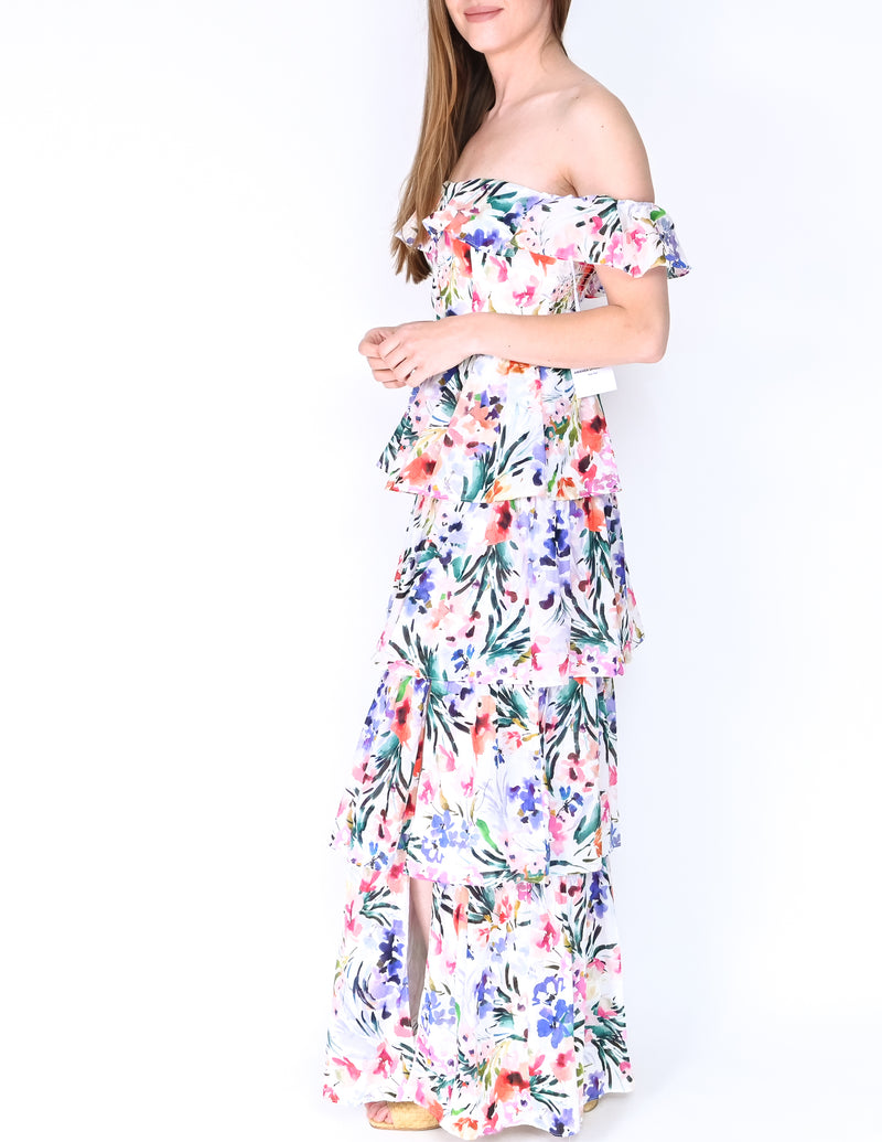 AMANDA UPRICHARD Floral Off-Shoulder Venezia Gown NWT