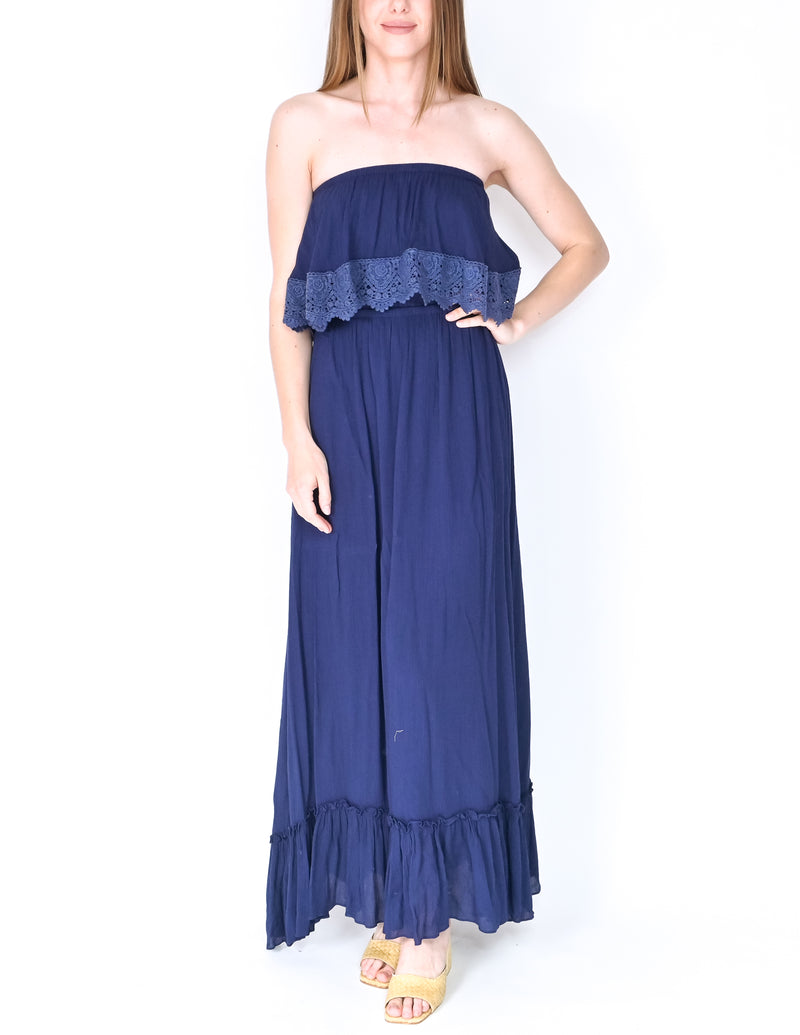 MISA Los Angeles Navy Blue Strapless Maxi Dress