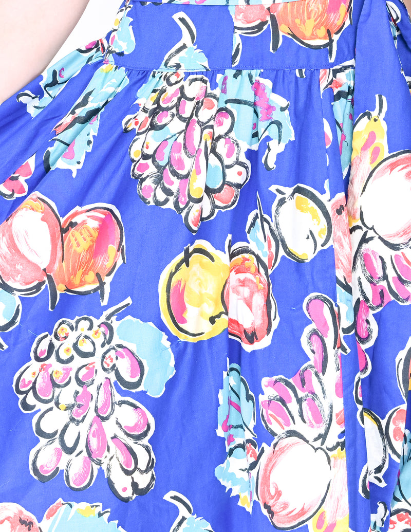 VINTAGE ROBBIE BEE Blue Fruit Print Dress (Size M-L)
