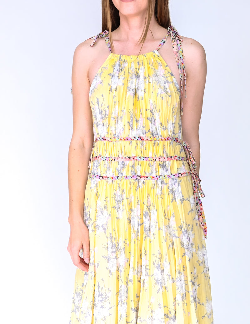 REBECCA TAYLOR Lemon Rose Pleated Midi Dress