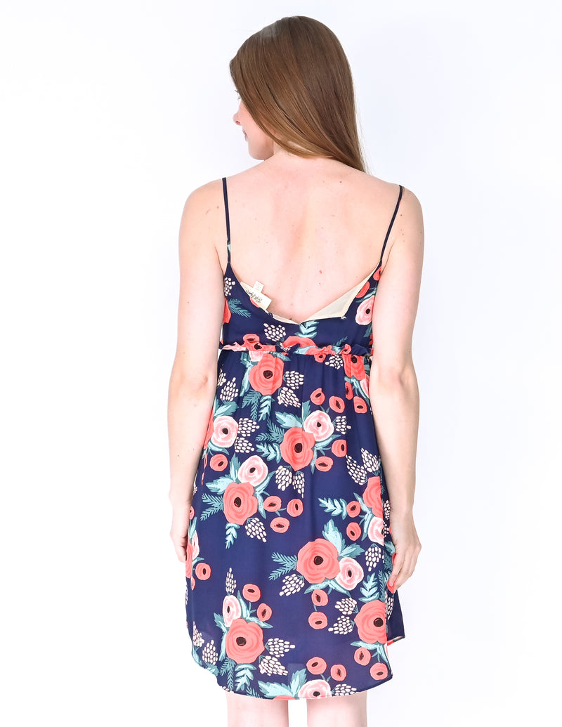 ANTHROPOLOGIE PAPER CROWN Blue Floral Mini Dress (Size XSP)