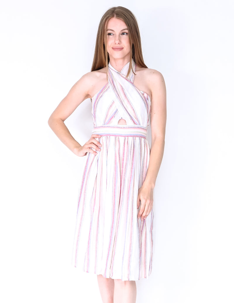 AMANDA UPRICHARD Christie Striped Midi Dress (Size S)