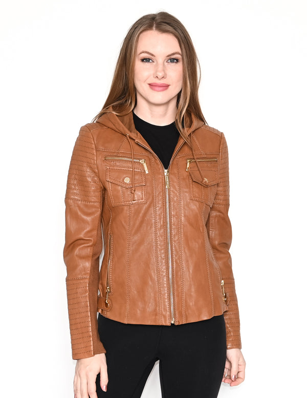 MIACHAEL MICHAEL KORS Brown Hooded Leather Jacket