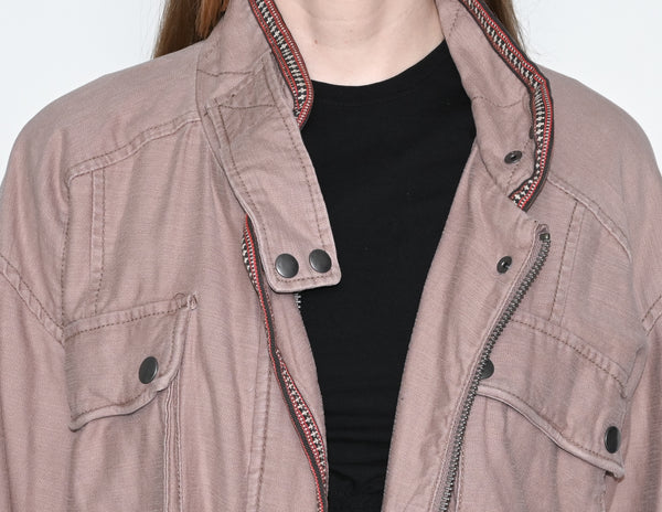 FREE PEOPLE Mauve Rose Flight Line Bomber Jacket