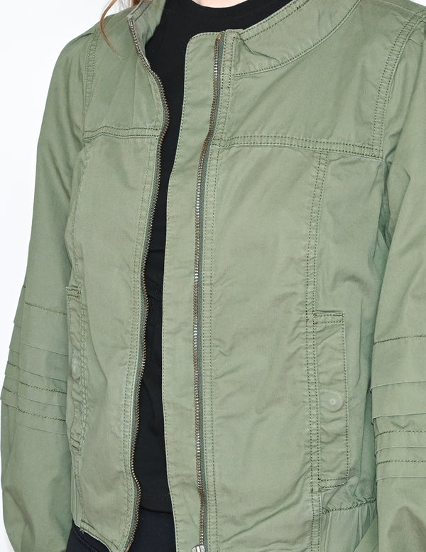ANTHROPOLOGIE Military Green Cotton Bomber Jacket
