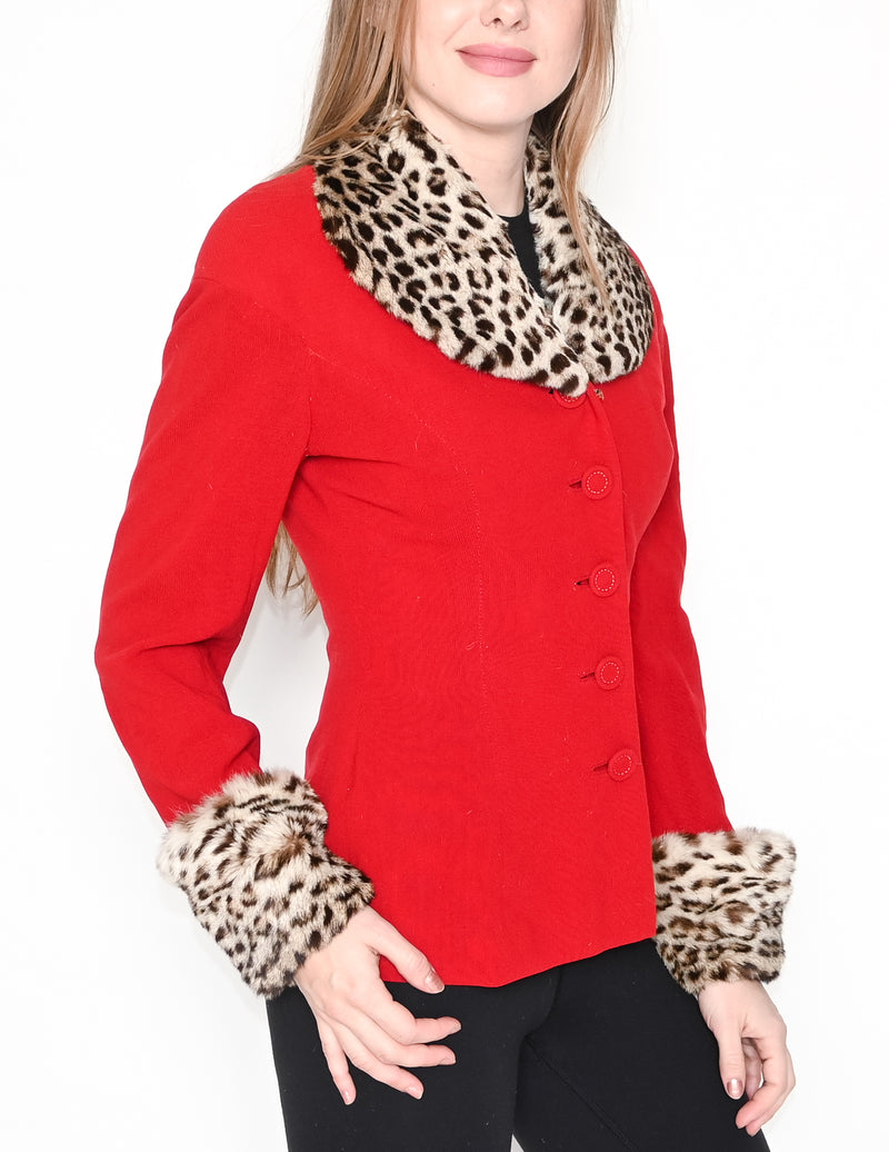 VINTAGE Spotted Cat Fur Collar Red Jacket