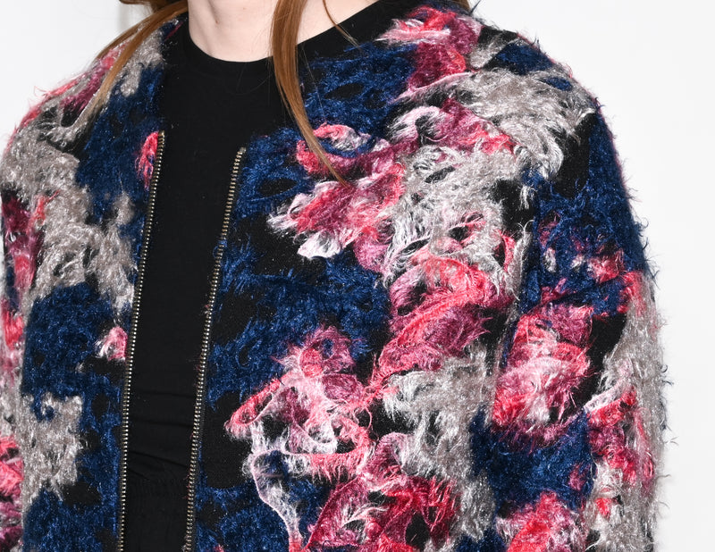 KERSH Multicolor Fuzzy Texture Zipper Coat