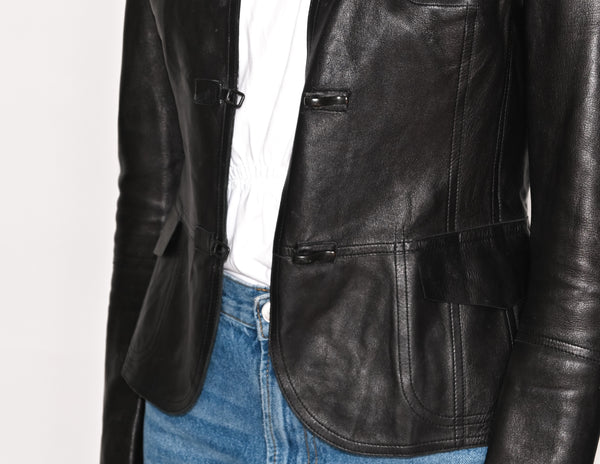 AKRIS Black Lamb Nappa Leather Jacket