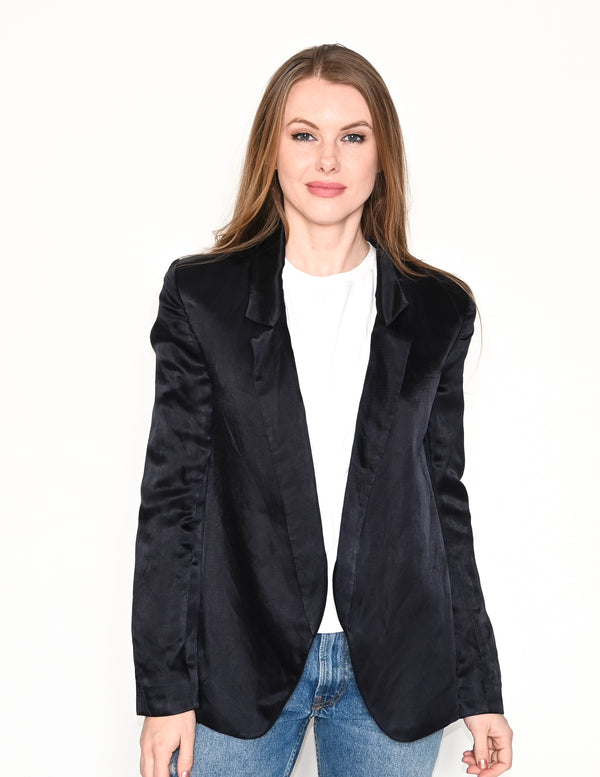 THEYSKENS THEORY Dark Blue Satin Blazer