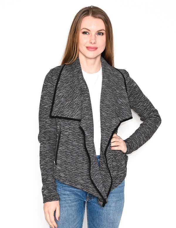 VIKTORIA + WOODS Knit Black & White Blazer Jacket