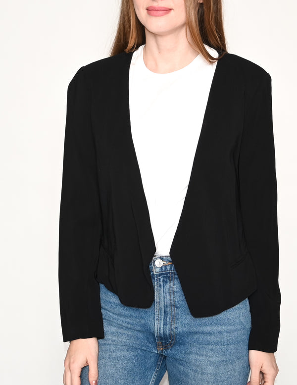 REBECCA TAYLOR Black Shoulder Pad Open Blazer