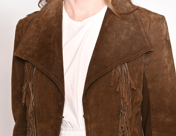 GIACOMO Brown Suede Leather Fringe Jacket