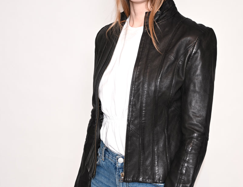 BEBE Black Fitted Leather Moto Jacket