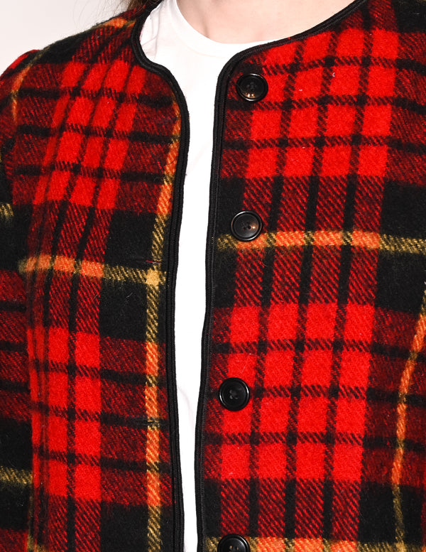 VINTAGE Wool Blend Red Plaid Fringe Hem Jacket