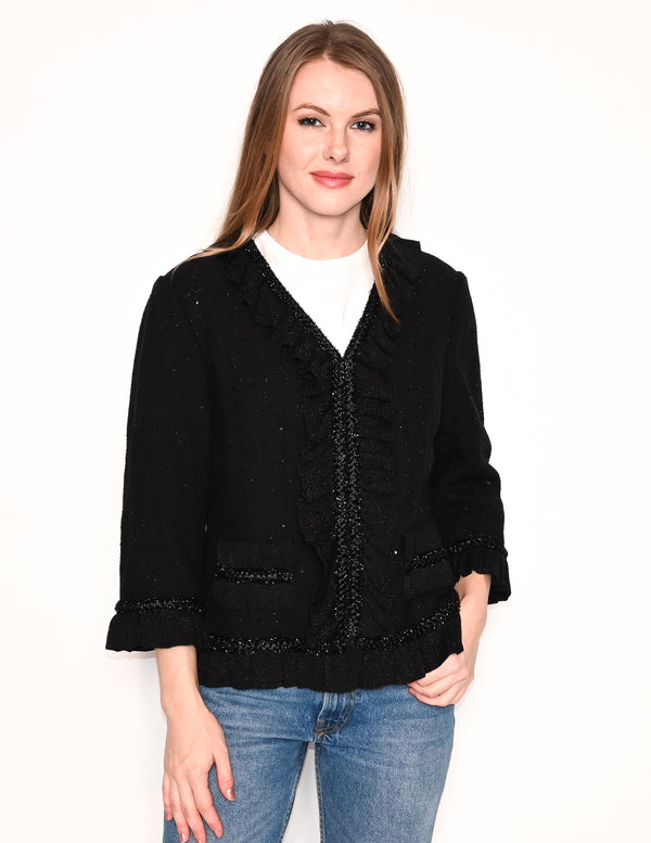 ST. JOHN Black Sparkle Tweed Ruffle Trim Jacket
