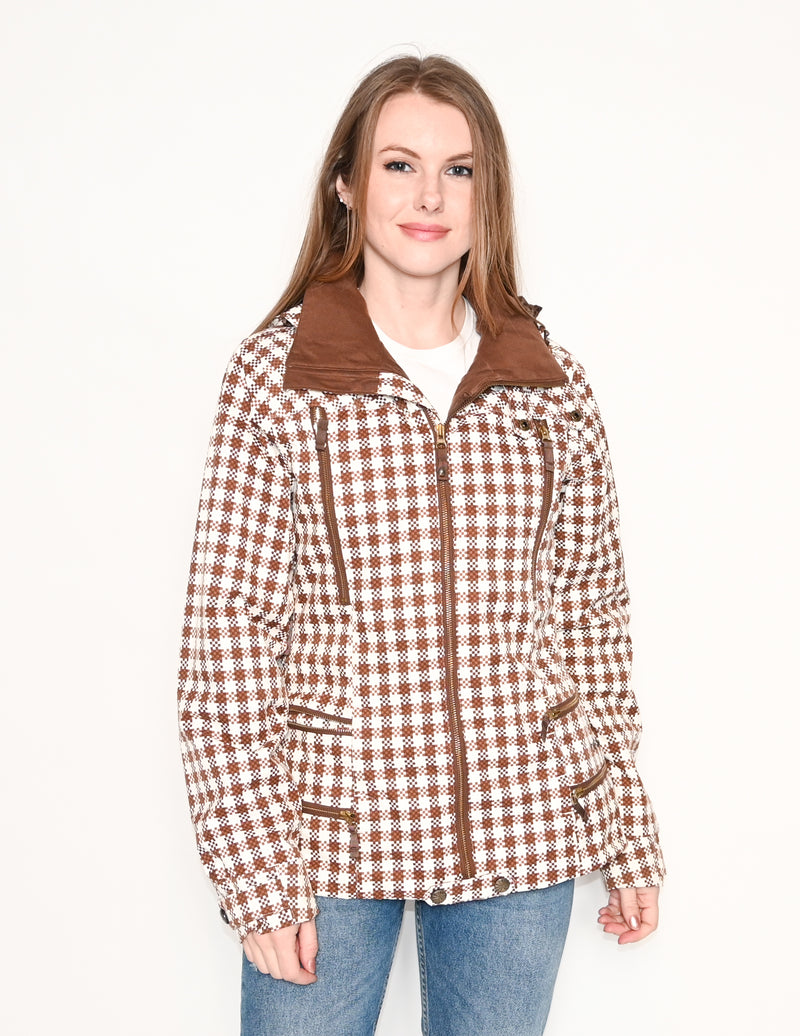 BURTON DryRide Brown White Houndstooth Ski Jacket